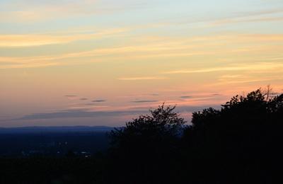 Ferienhof Straub Sasbach Sonnenuntergang Rheinebene Vogesen